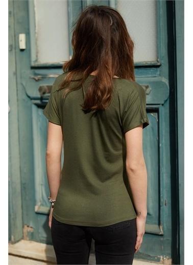 XHAN V Yaka Basic T-Shirt 0Yxk2-43352-09 Haki
